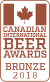 Bronze Medal, 2018 Canadian International Beer Awards