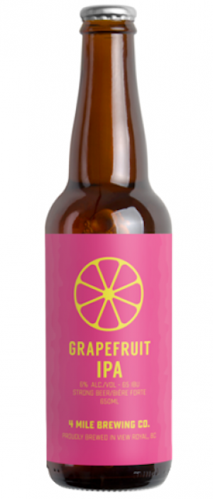 Grapefruit IPA by 4 Mile Brewing Company in British Columbia, Canada