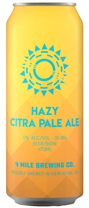 Hazy Citra Pale Ale by 4 Mile Brewing Company in British Columbia, Canada