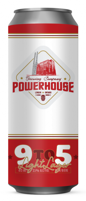9 to 5 Light Lager by Powerhouse Brewing Company in Ontario, Canada
