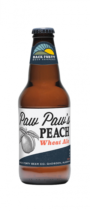 Paw Paw's Peach Wheat by Back Forty Beer Company in Alabama, United States