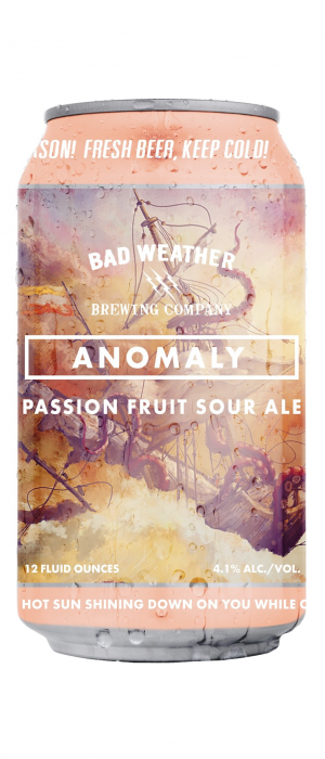 Anomaly Passion Fruit Sour Ale by Bad Weather Brewing Company in Minnesota, United States