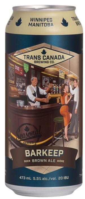 Barkeep Brown Ale by Trans Canada Brewing Co. in Manitoba, Canada