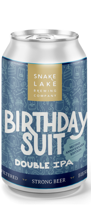 Birthday Suit Double IPA by Snake Lake Brewing Company in Alberta, Canada