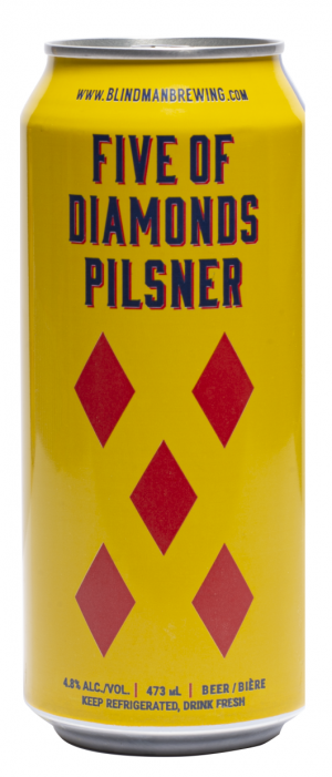 Five of Diamonds Pilsner by Blindman Brewing in Alberta, Canada
