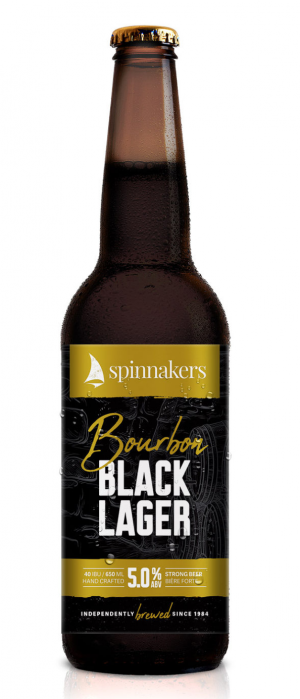 Bourbon Black Lager by Spinnakers Brewpub & Guesthouses in British Columbia, Canada
