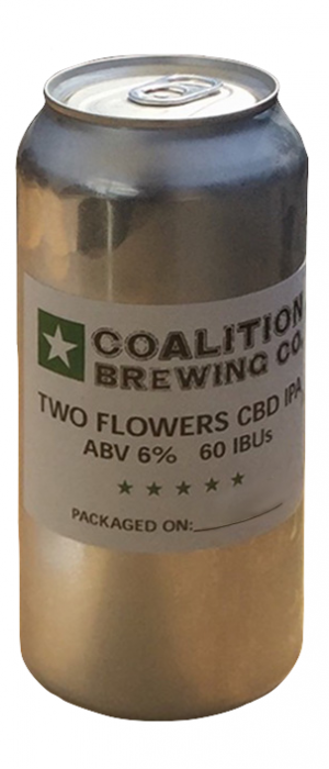 Two Flowers IPA (CBD Infused Beer) by Coalition Brewing Company in Oregon, United States