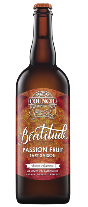 Beatitude Passion Fruit Tart Saison by Council Brewing Company in California, United States