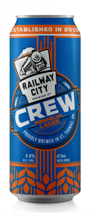 Crew Premium Lager by Railway City Brewing Company in Ontario, Canada