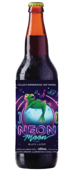 Neon Moon Black Lager by Dead Frog Brewery in British Columbia, Canada
