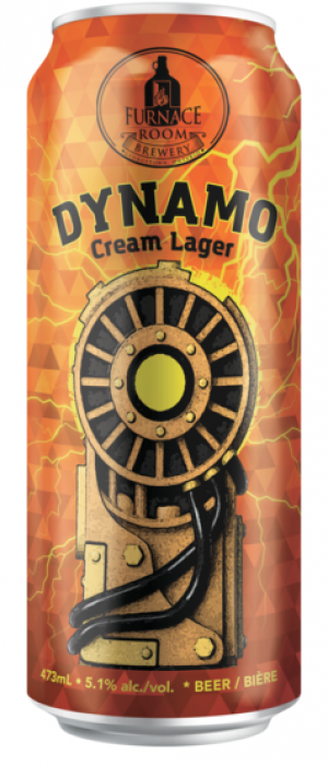 Dynamo Cream Lager by Furnace Room Brewery in Ontario, Canada
