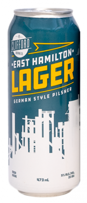 East Hamilton Lager by Clifford Brewing Co. in Ontario, Canada
