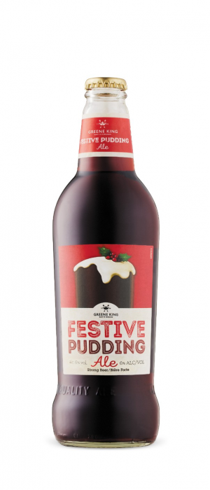 Festive Pudding Ale by Greene King Brewery in Suffolk - England, United Kingdom
