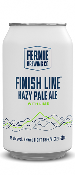 Finish Line Hazy Pale Ale with Lime by Fernie Brewing Company in British Columbia, Canada