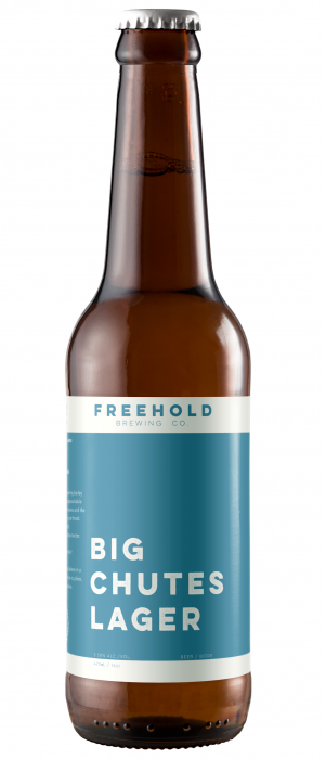 Big Chutes Lager by Freehold Brewing Co. in Alberta, Canada