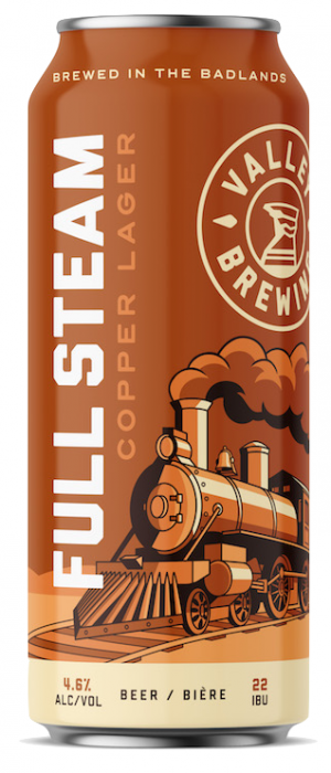 Full Steam Copper Lager by Valley Brewing in Alberta, Canada