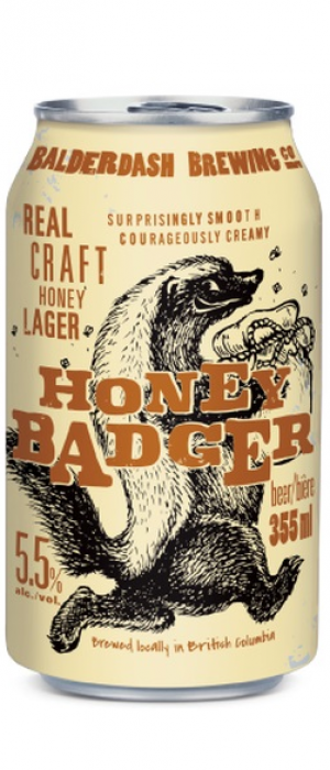 Honey Badger Honey Lager by Balderdash Brewing Company in British Columbia, Canada
