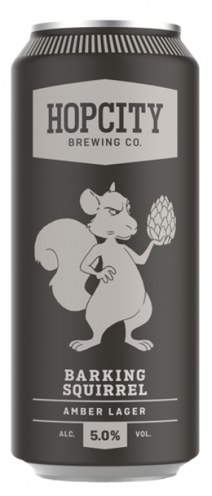 Barking Squirrel Amber Lager by Hop City Brewing Company in Ontario, Canada