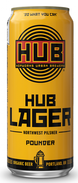 Organic HUB Lager by Hopworks Urban Brewery in Oregon, United States