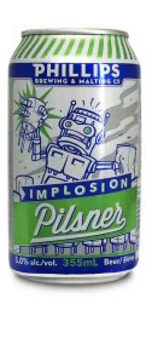 Implosion Pilsner by Phillips Brewing & Malting Company in British Columbia, Canada