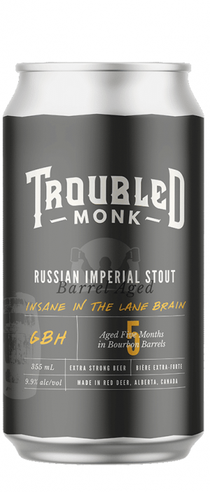 Insane in the Lane Brain by Troubled Monk Brewery in Alberta, Canada