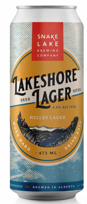 Lakeshore Lager by Snake Lake Brewing Company in Alberta, Canada