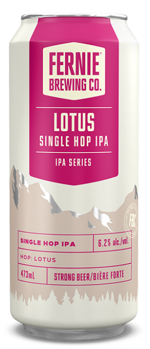 Lotus Single Hop IPA by Fernie Brewing Company in British Columbia, Canada