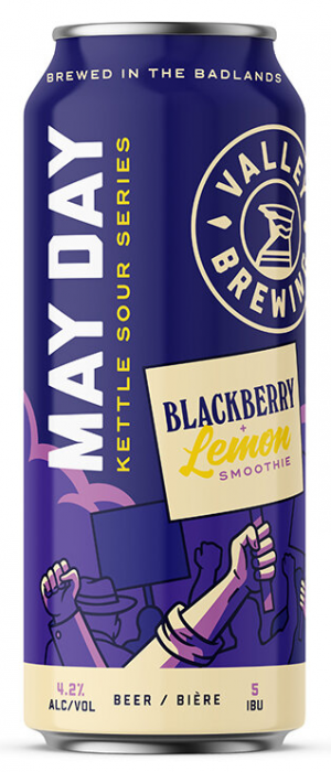 May Day Kettle Sour Series: Blackberry + Lemon Smoothie by Valley Brewing in Alberta, Canada