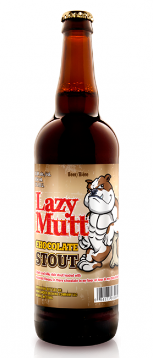 Lazy Mutt Chocolate Stout by Minhas Micro Brewery in Alberta, Canada