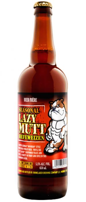 Lazy Mutt Hefeweizen by Minhas Micro Brewery in Alberta, Canada