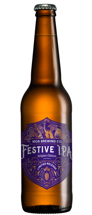 Festive IPA Belgian Edition by Moa Brewing Company in Marlborough, New Zealand
