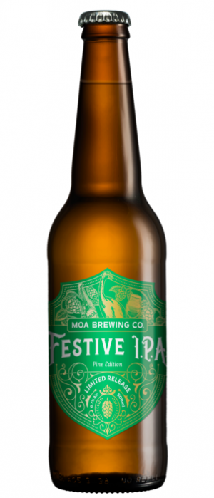 Festive IPA Pine Edition by Moa Brewing Company in Marlborough, New Zealand