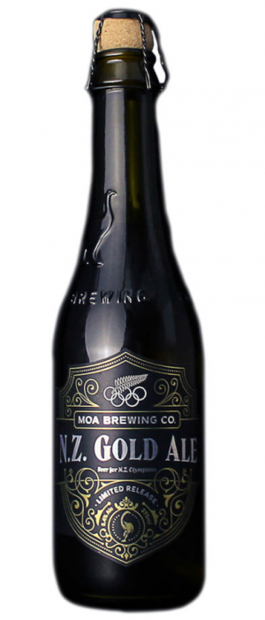 N.Z. Gold Ale by Moa Brewing Company in Marlborough, New Zealand