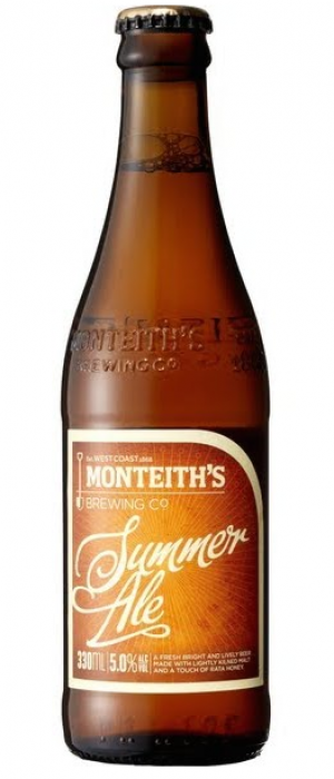 Summer Ale by Monteith's Brewing Company in West Coast, New Zealand