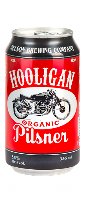 Hooligan Organic Pilsner by Nelson Brewing Company in British Columbia, Canada