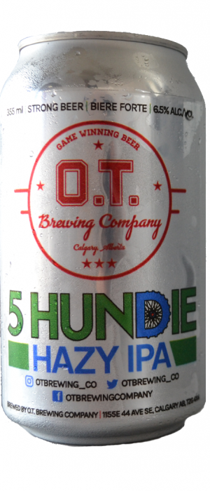 5 Hundie Hazy IPA by O.T. Brewing Company in Alberta, Canada