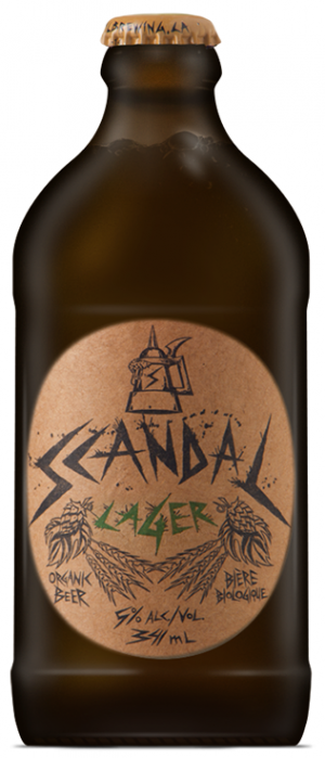 Scandal Lager by Pacific Western Brewing Co. in British Columbia, Canada