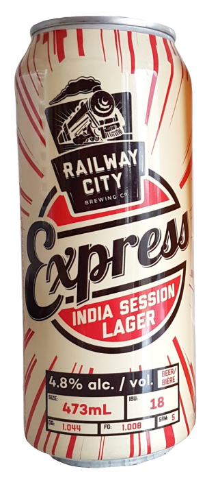 Express India Session Lager by Railway City Brewing Company in Ontario, Canada