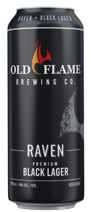 Raven Black Lager by Old Flame Brewing Company in Ontario, Canada