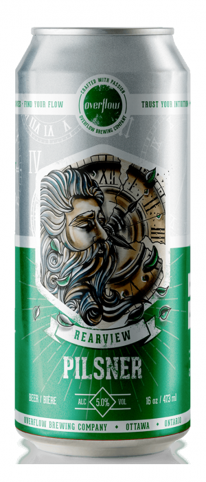 Rearview Pilsner by Overflow Brewing Company in Ontario, Canada