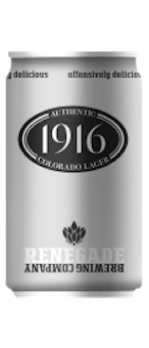 1916 Coloado Lager by Renegade Brewing Company in Colorado, United States