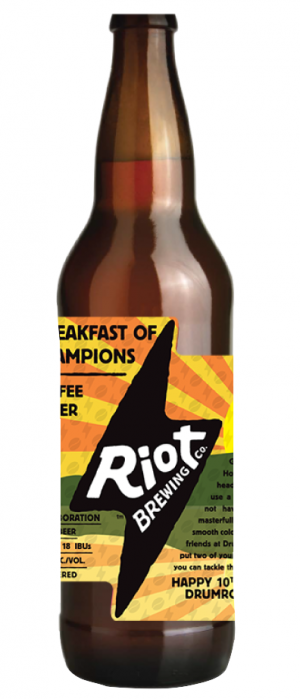 Breakfast of Champions Coffee Lager by Riot Brewing Company in British Columbia, Canada