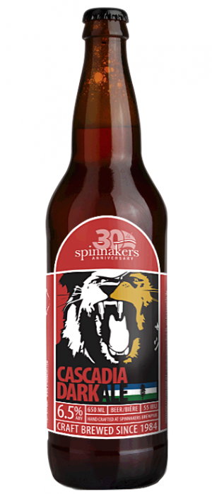 Lion's Head Cascadia Dark Ale by Spinnakers Brewpub & Guesthouses in British Columbia, Canada