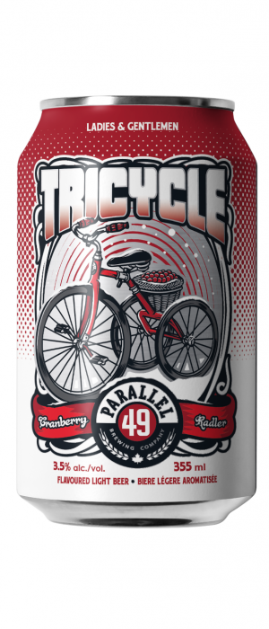 Tricycle Cranberry Radler by Parallel 49 Brewing in British Columbia, Canada