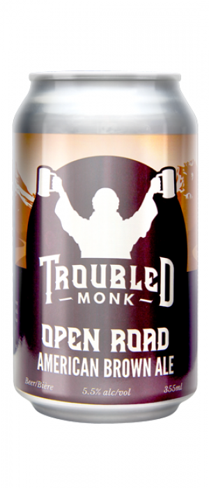 Open Road American Brown Ale by Troubled Monk Brewery in Alberta, Canada
