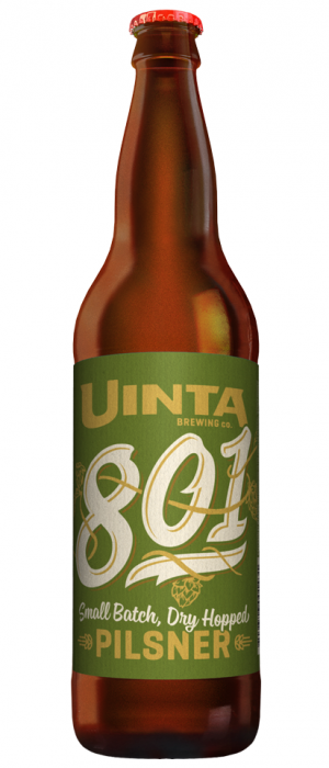 801 Dry Hopped Pilsner by Uinta Brewing Company in Utah, United States