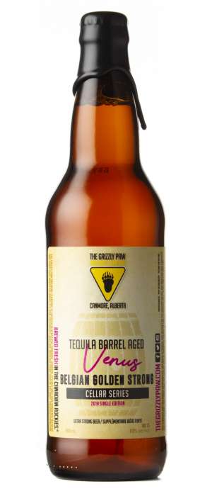 Venus Tequila Barrel Aged Belgian Golden Strong by The Grizzly Paw Brewing Company in Alberta, Canada