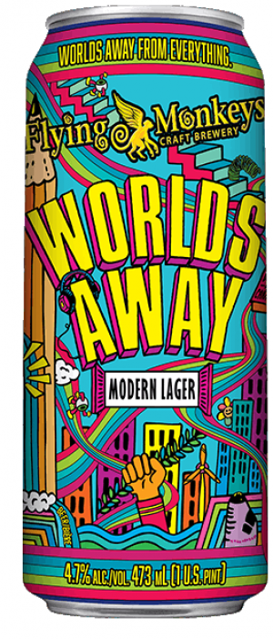 Worlds Away Modern Lager by Flying Monkeys Craft Brewery in Ontario, Canada