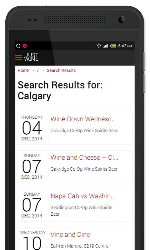 Just Wine App, Events