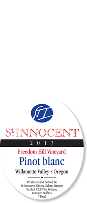 St. Innocent Freedom Hill Vineyard 2013 Pinot Blanc Bottle